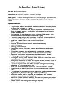 Job Description - Bank Medical Receptionist - Emsworth Surgery